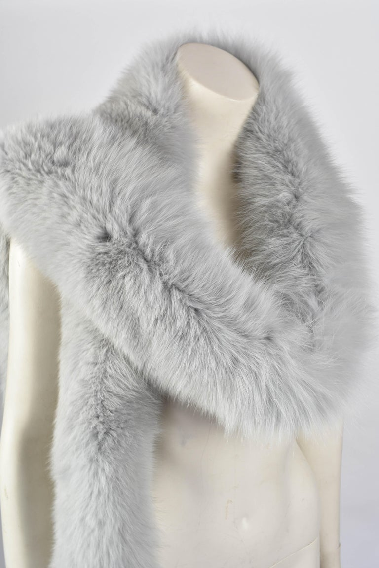 Gray FINAL SALE Gianni Versace Couture Grey Fox Fur Scarf, 94 inch / 240 cm long For Sale