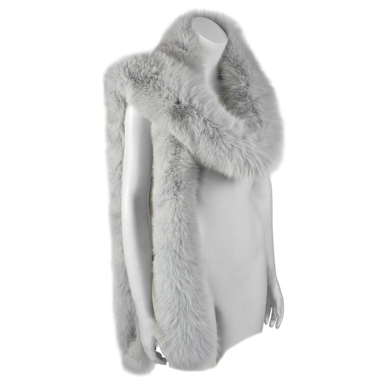 FINAL SALE Gianni Versace Couture Grey Fox Fur Scarf, 94 inch / 240 cm long For Sale