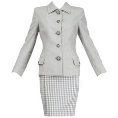 Gianni Versace Couture Lavender Gingham Medusa Button Skirt Suit - S, 1995