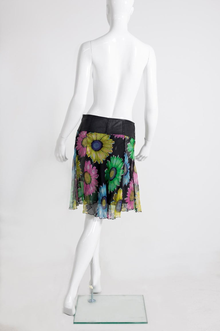Black Gianni Versace Couture Leather and Silk Short Skirt 1990s For Sale
