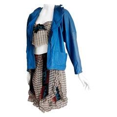 Gianni VERSACE Couture Leather Jacket Top Scarf Skirt Silk Ensemble - Unworn.