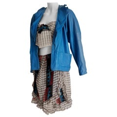 Gianni VERSACE Couture leather jacket, top scarf skirt silk ensemble, Unworn.