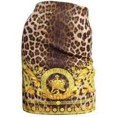 Gianni Versace Couture Leopard Baroque Print Skirt 1990s