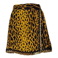 Gianni Versace Couture Leopard Golden Fringe Skirt 1990s.