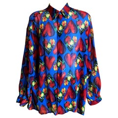 Gianni Versace Couture Men's Sheer Silk Shirt 1997 Jim Dine Heart Print Size XXL