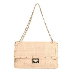 GIANNI VERSACE COUTURE nude quilted ostrich gold studded shoulder leather bag