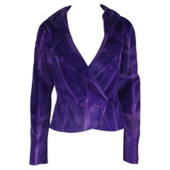 Gianni Versace Couture Purple Fur Jacket Coat