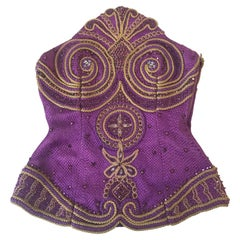 Gianni Versace Couture Purple & Gold Embellished & Embroidered Bustier/Corset