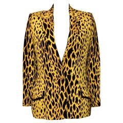 Gianni Versace Couture Rare Yellow Leopard Print Silk Jacket