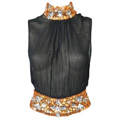 Gianni Versace Couture S/S 2000 Runway Embellished Sheer Black Top IT 40