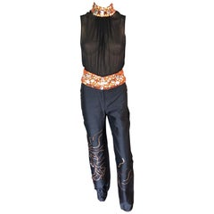 Gianni Versace Couture S/S 2000 Runway Embellished Sheer Top & Pants 2 Piece Set
