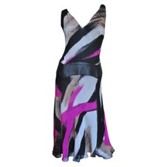 Gianni Versace Couture Silk Dress with Leather Inset