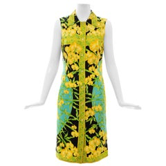 Gianni Versace Couture Silk Printed Yellow Orchids Sheath Dress, Circa: 1990's