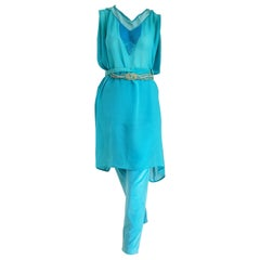 Gianni VERSACE Couture silk tunic velvet pants 2 belts turquoise ensemble - New