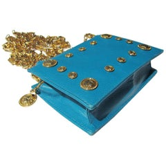 Gianni Versace Couture Turquoise Gold Medusa Chain Purse bag
