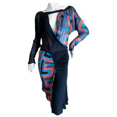 Gianni Versace Couture Vintage 80's Silk Greek Key Pattern 2 Pc Cocktail Dress