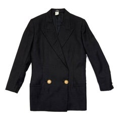 Gianni Versace Couture Vintage Crossover Blazer In Black Silk And Wool
