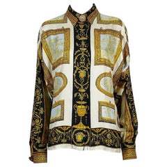 Gianni Versace Couture Vintage Framed Wedgwood Jasper Plaques Print Silk Blouse