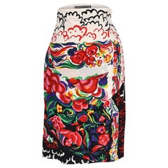 Gianni Versace Couture Vintage Skirt Abstract Floral Print Vivid Colours 38