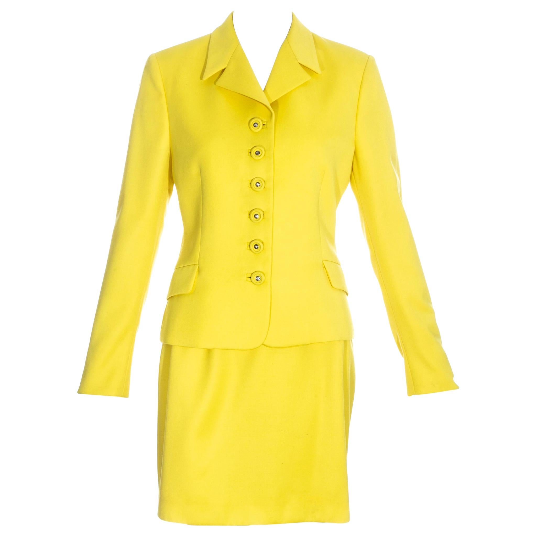 Gianni Versace Couture yellow skirt suit, ss 1996