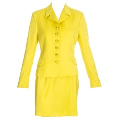 Gianni Versace Couture yellow skirt suit fw 1996