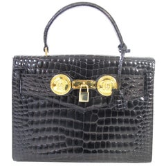 "Gianni Versace Croc Embossed Black ""Diana"" Bag, 1990s"