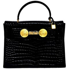 Gianni Versace Croc Embossed Couture Bag With Medusas