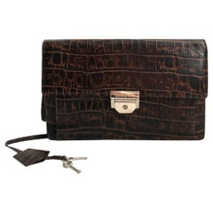 Gianni Versace croc envelope leather bag
