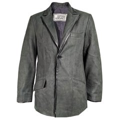 Gianni Versace Dark Green Suede Mens Jacket