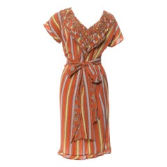Gianni Versace early 80s Silk Striped and Floral Dress