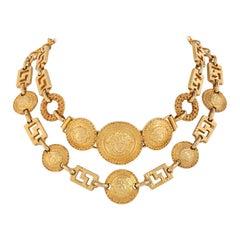 GIANNI VERSACE F/W 1992 Gold Signature Medusa Medallion Coin Choker Bib Necklace