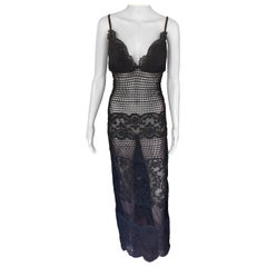 Gianni Versace F/W 1993 Runway Couture Sheer Knit Mesh Lace Evening Dress Gown