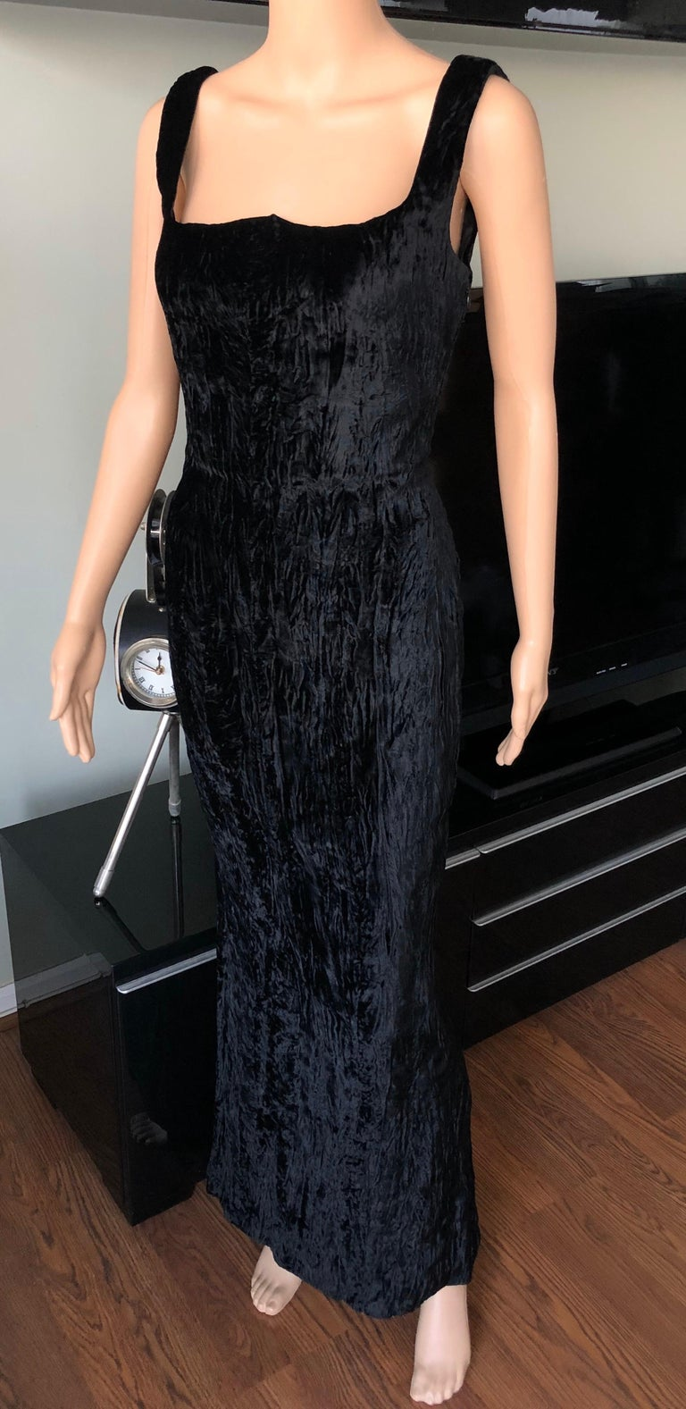 Women's Gianni Versace F/W 1995 Runway Vintage Velvet Black Maxi Dress Gown