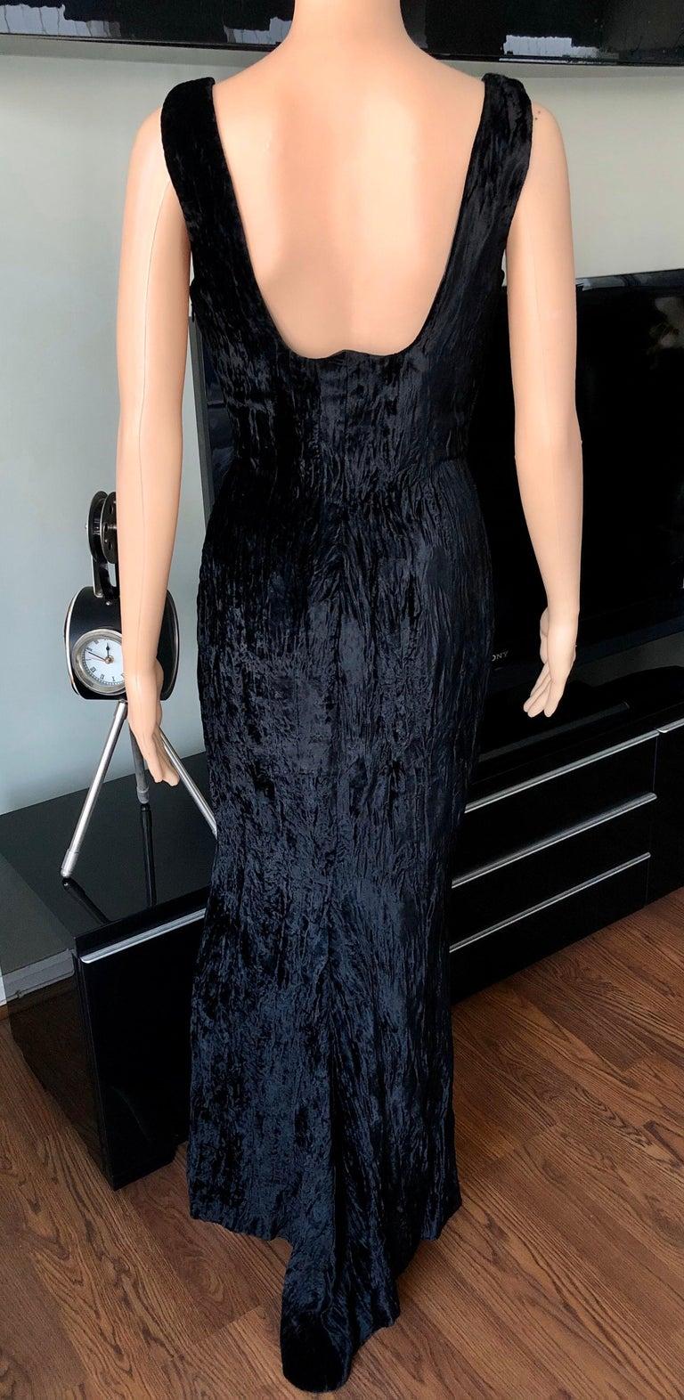 Gianni Versace F/W 1995 Runway Vintage Velvet Black Maxi Dress Gown 1