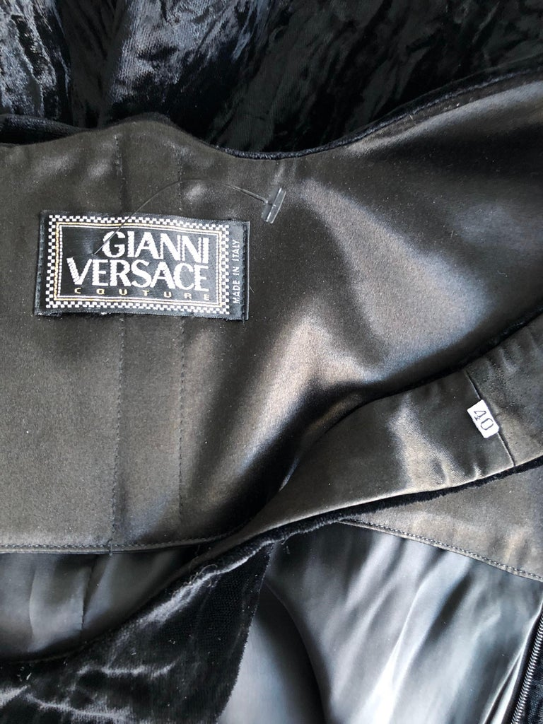 Gianni Versace F/W 1995 Runway Vintage Velvet Black Maxi Dress Gown 2
