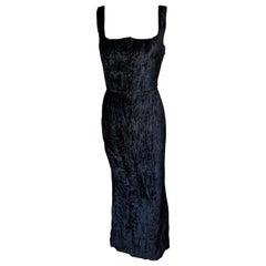 Gianni Versace F/W 1995 Runway Vintage Velvet Black Maxi Dress Gown