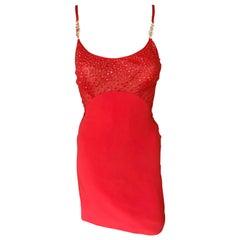 Gianni Versace F/W 1996 Runway Vintage Embellished Sheer Red Evening Mini Dress
