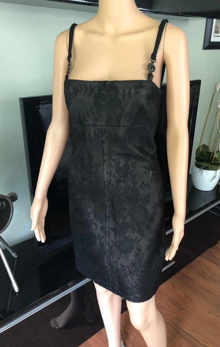 Gianni Versace F/W 1996 Vintage Lace and Leather Black Mini Dress  In Good Condition For Sale In Totowa, NJ