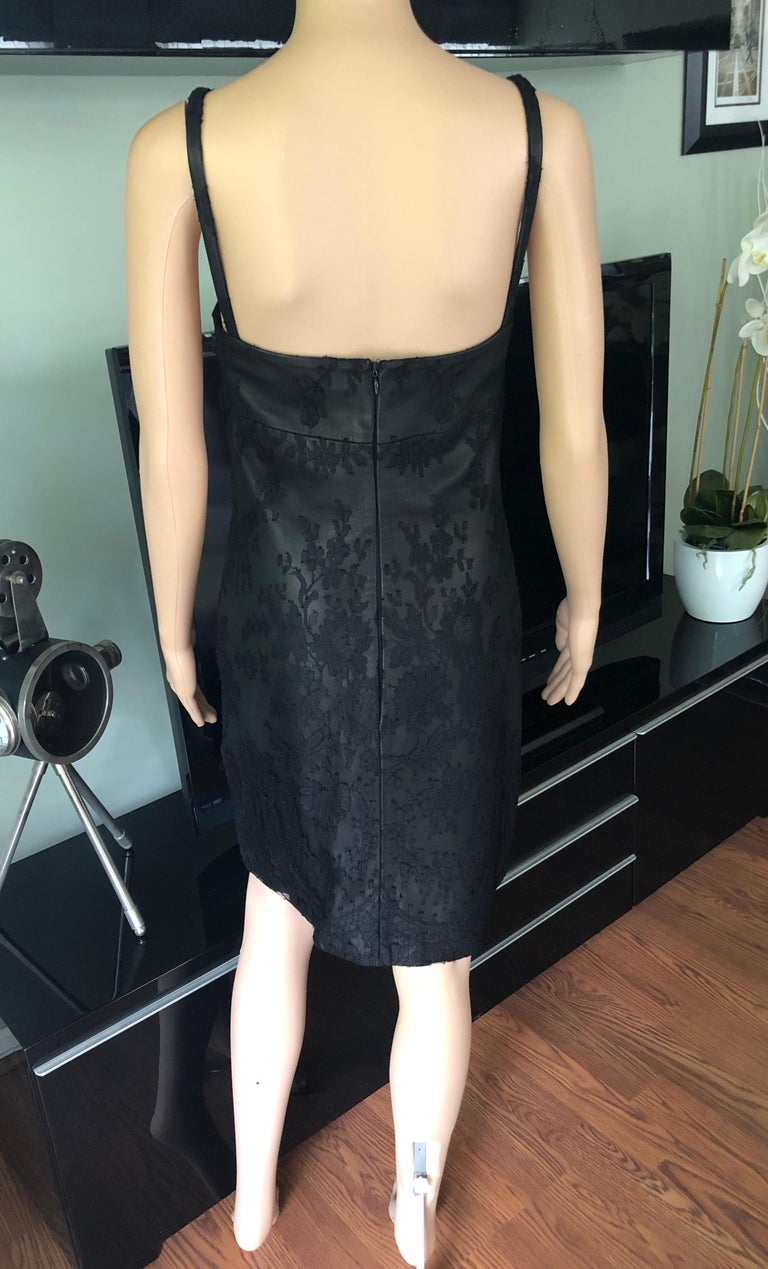 Gianni Versace F/W 1996 Vintage Lace and Leather Black Mini Dress  For Sale 1