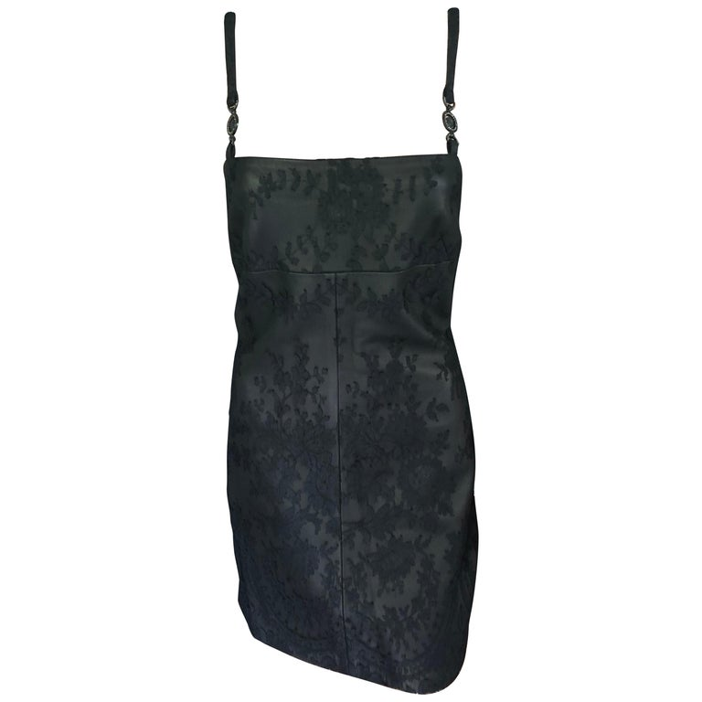 Gianni Versace F/W 1996 Vintage Lace and Leather Black Mini Dress  For Sale