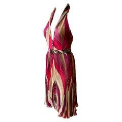 Gianni Versace F/W 2000 Runway Plunged Geometric Print Open Back Pleated Dress