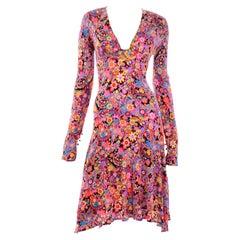 Gianni Versace Fall 2002 Vintage Pop Flower Power Stretch Jersey Dress