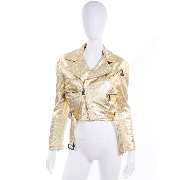 Gianni Versace Fall Winter 1994 95 Runway Vintage Embossed Gold Moto Jacket  For Sale 6