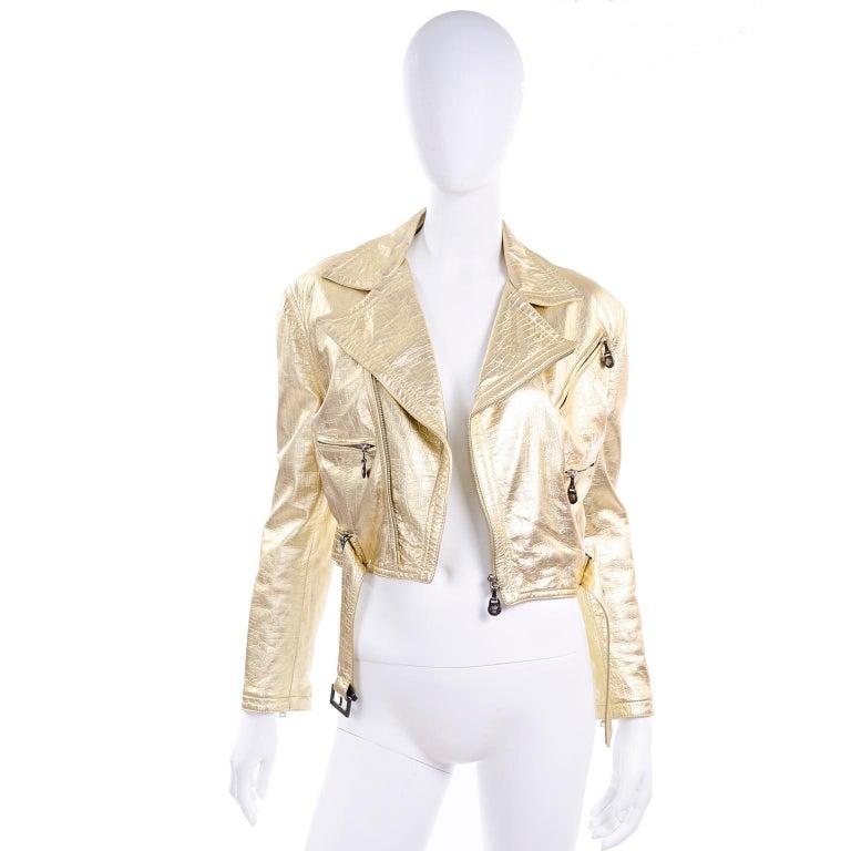 Gianni Versace Fall Winter 1994 95 Runway Vintage Embossed Gold Moto Jacket  For Sale 7