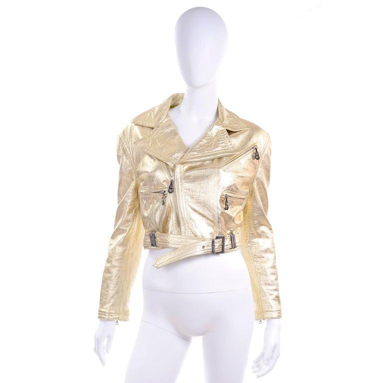 Gianni Versace Fall Winter 1994 95 Runway Vintage Embossed Gold Moto Jacket  For Sale 8