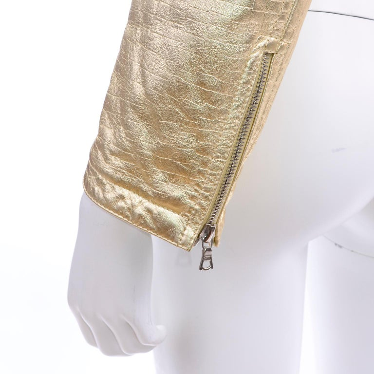 Gianni Versace Fall Winter 1994 95 Runway Vintage Embossed Gold Moto Jacket  For Sale 10