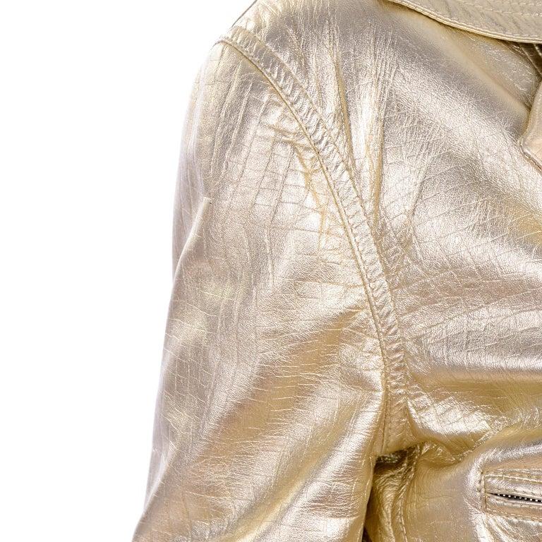 Gianni Versace Fall Winter 1994 95 Runway Vintage Embossed Gold Moto Jacket  For Sale 11