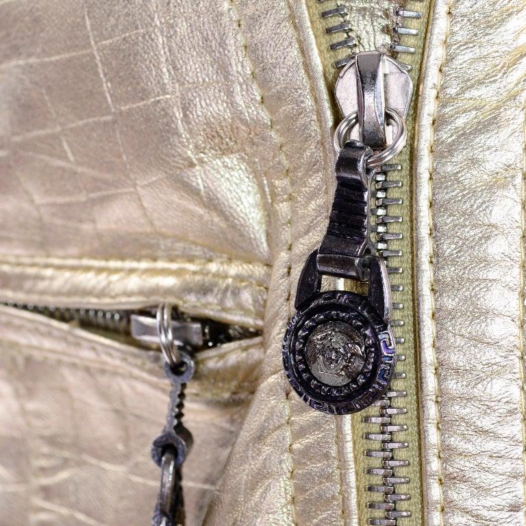 Gianni Versace Fall Winter 1994 95 Runway Vintage Embossed Gold Moto Jacket  For Sale 12