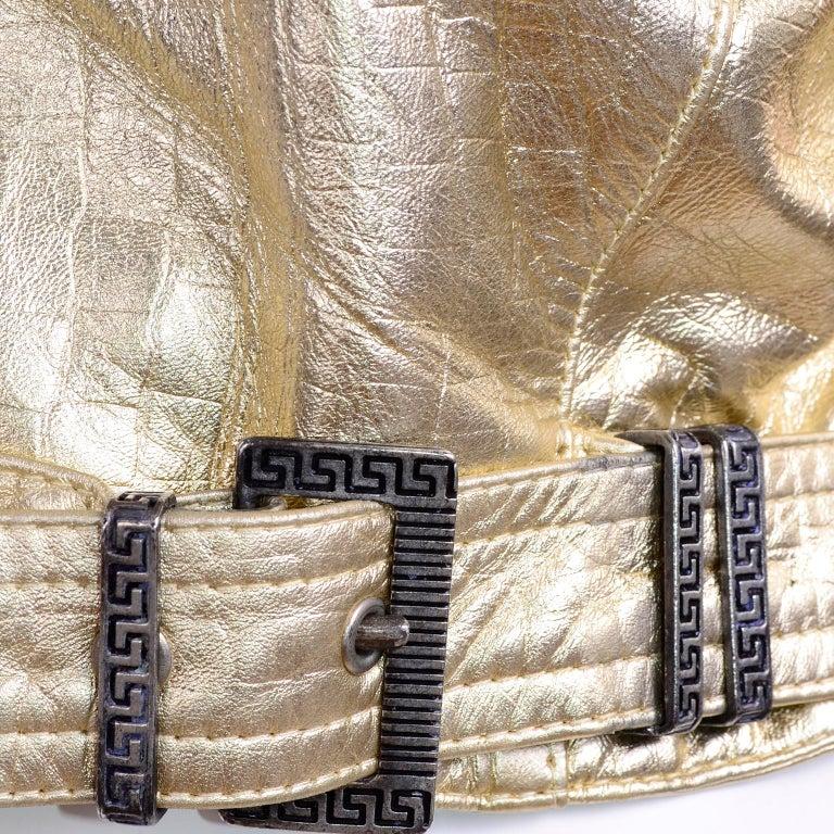 Gianni Versace Fall Winter 1994 95 Runway Vintage Embossed Gold Moto Jacket  For Sale 13
