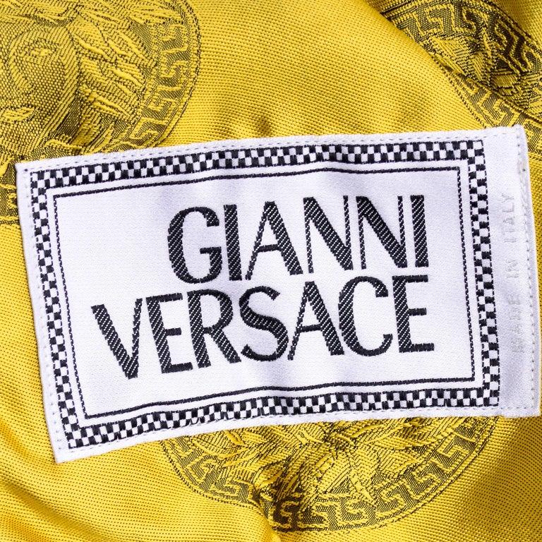 Gianni Versace Fall Winter 1994 95 Runway Vintage Embossed Gold Moto Jacket  For Sale 16